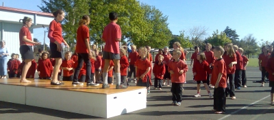doing Jump Jam at school in the sunshine