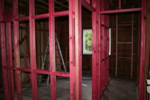 Looking into Lachlan's room (the new bathroom on the left and toilet on the right)