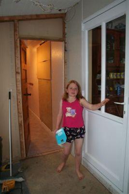 Sarah with the back door and the new bathroom door