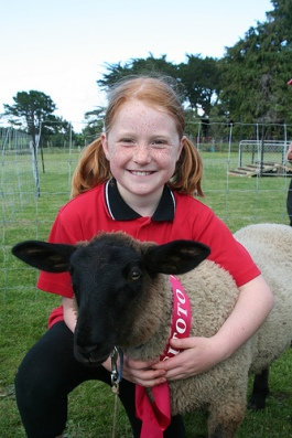 Sarah at lamb and calf day last year