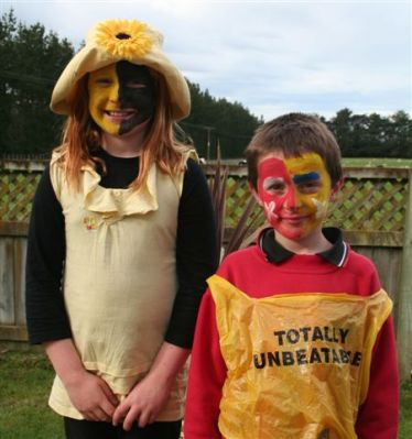 "Sarah and Lachlan after Roald Dahl ""yellow"" day at school"