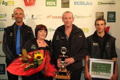 Left to right: Farm Manager of the Year Bart Gysbertsen (wife Tikeke was absent) of Carterton, Sharemilker/Equity Partner of the Year  Shaun and Kate Mitchell of Pahiatua and Trainee of the Year Ken Ahradsen of Carterton.