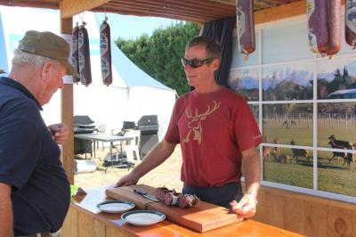 Clint Thomsen with his BaseCamp salami (recommend the pepperoni!)