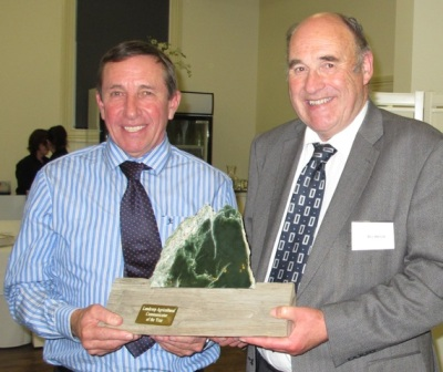 Doug Avery, left, with Landcorp chairman  Bill Baylis