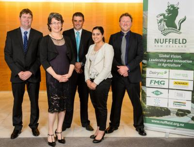 2015 Nuffield NZ Scholars - from left: Bede O'Connor, Sharon Morrell, Ben Allomes, Satwant Singh and Dan Steele.